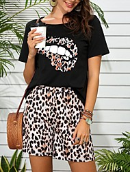 cheap -Women's Active Streetwear Print Leopard Going out Casual / Daily Two Piece Set Tracksuit T shirt Loungewear Shorts Print Tops