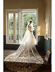 cheap -Two-tier Cute Wedding Veil Cathedral Veils with Embroidery 55.12 in (140cm) Tulle