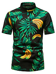 cheap -Men's Shirt Other Prints Abstract Short Sleeve Daily Tops 100% Cotton Green