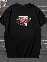 cheap -Men's Unisex T shirt Hot Stamping Car Plus Size Print Short Sleeve Casual Tops 100% Cotton Basic Casual Fashion Black