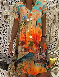 cheap -Women's A Line Dress Knee Length Dress Blue Red Orange Short Sleeve Print Tie Dye Print Summer V Neck Elegant 2021 S M L XL XXL 3XL