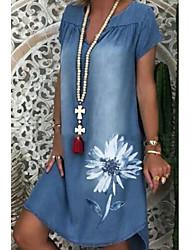baratos -Mulheres Vestido Jeans Vestido no Joelho Azul Manga Curta Floral Estampado Verão Decote V Elegante 2021 M L XL XXL 3XL