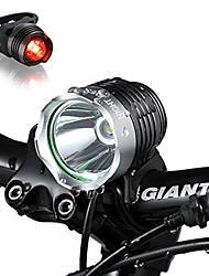 cheap -- 1200 lumens mountain bike headlight bike led light -rechargeable 8.4v 6400ma abs waterproof battey-free aluminum biketaillight bonus -no tool required (round 1200)