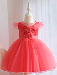 cheap -Ball Gown Knee Length Wedding / Event / Party Flower Girl Dresses - Tulle / Polyester Sleeveless Jewel Neck with Beading / Embroidery / Ruching
