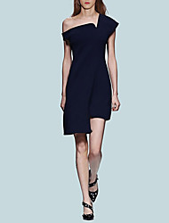 cheap -A-Line Celebrity Style Minimalist Homecoming Cocktail Party Dress One Shoulder Sleeveless Asymmetrical Stretch Fabric with Sleek 2021