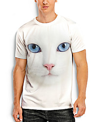 cheap -Men's Tees T shirt 3D Print Cat Graphic Prints Animal Print Short Sleeve Daily Tops Basic Casual White