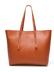 cheap -Women's Bags PU Leather Tote Satchel Top Handle Bag Solid Color Daily Office & Career 2021 Tote Handbags Black Almond Green Brown