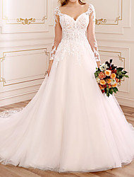 cheap -A-Line Wedding Dresses V Neck Court Train Lace Tulle Long Sleeve Country Luxurious with Appliques 2021