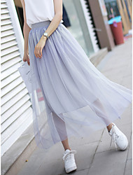 cheap -Women's Daily Elegant Skirts Solid Colored Pleated White Gray