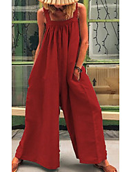 cheap -Women's Red Green Jumpsuit Solid Colored Print