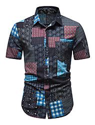 cheap -Men's Shirt Other Prints Abstract Short Sleeve Daily Tops 100% Cotton Blue