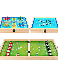 cheap -Football Winner Board Game Sling Puck Game Wooden Ice Hockey Game Table Desktop Battle 3 in 1 with Ludo and Gobang Fast Super Winner Game Paced Slingshot for Kids Adults Toy Interactive Family