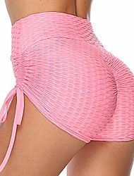 cheap -bwogeeya women's butt lifting workout shorts high waisted yoga pants anti cellulite athletic booty sport tights (pink,medium)