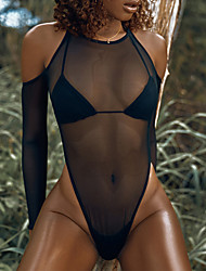 cheap -Women's One Piece Monokini Swimsuit Cut Out Mesh Hole Solid Color Black Fuchsia Orange Brown Swimwear Padded High Neck Bathing Suits New Fashion Sexy