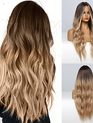 cheap -Blonde Brown Long Wig Middle Part Hair Wig Cosplay Natural Heat Resistant Synthetic Wigs for Women