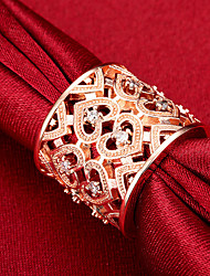 cheap -Band Ring 3D Rose Gold Silver Copper Rhinestone Silver Plated Heart Fashion 1pc Adjustable / Women's / Statement Ring / Open Ring / Rose Gold Plated