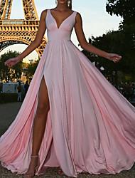 cheap -A-Line V Neck Floor Length Spandex Bridesmaid Dress with Pleats / Split Front