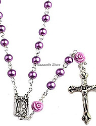 cheap -Catholic Pearl Beads Rosary Necklace Our Rose Lourdes Medal & Cross NS