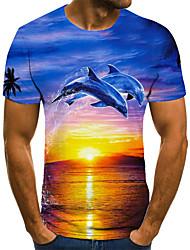 cheap -Men's T shirt 3D Print Animal 3D Print Print Short Sleeve Casual Tops Casual Fashion Blue