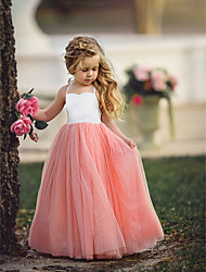 cheap -Kids Little Girls' Dress Dusty Rose Solid Colored Quinceanera Wedding Party Pleated Halter Purple Blushing Pink Light Blue Maxi Sleeveless Flower Basic Dresses
