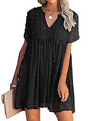 cheap -Women's Swing Dress Knee Length Dress Light Blue Black Red Green Beige Half Sleeve Solid Color Spring Summer Casual / Daily 2021 S M L XL