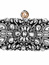cheap -womens beaded clutch rhinestone evening bag wedding bridal prom purse.(black-3)