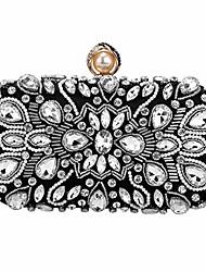 cheap -womens beaded clutch rhinestone evening bag wedding bridal prom purse.(black-3)