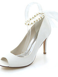 cheap -Women's Wedding Shoes Stiletto Heel Peep Toe Wedding Pumps Satin Pearl Ribbon Tie Solid Colored White Purple Red