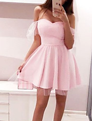 cheap -A-Line Minimalist Sexy Homecoming Cocktail Party Dress Off Shoulder Short Sleeve Short / Mini Satin Tulle with Pleats 2021