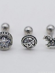 cheap -Men's Single Earring Punk Trendy Rock Earrings Jewelry Silver For Street 1pc