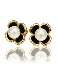 cheap -Women's Pearl Earrings Geometrical Fashion Stylish Gold Plated Earrings Jewelry Gold For Anniversary Date Birthday Festival 1 Pair