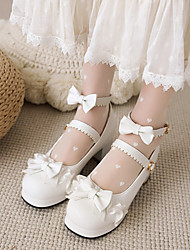 cheap -Women's Lolita Shoes Chunky Heel Round Toe Lace Microfiber Bowknot Buckle Lace Floral White Black Pink