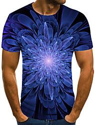 cheap -Men's T shirt 3D Print Geometric 3D Print Print Short Sleeve Casual Tops Casual Fashion Blue