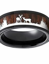 cheap -77jok black wood inlay ring - deer rings 8mm mens wedding band christmas ring size 6-8 rings fashion jewelry (brown, 9)