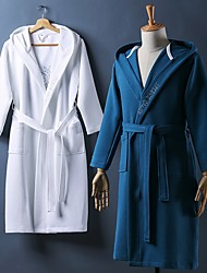 cheap -Superior Quality Unisex Bath Robe, Black/White/Ash Pure Cotton Breathable Long Sleeve Solid Check Nightgown Comfortable in Summer