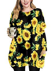 cheap -Women's Plus Size Dress Shift Dress Short Mini Dress Long Sleeve Floral Graphic Print Casual Autumn / Fall Spring Summer Black Orange XL XXL 3XL 4XL 5XL