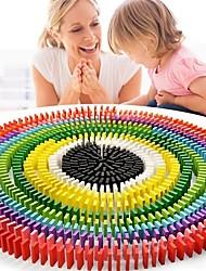 cheap -rainbow wood domino building blocks set
