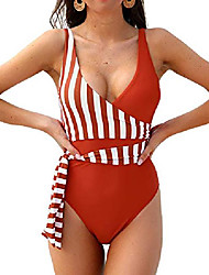 cheap -blooming jelly womens vintage one piece swimsuits wrap front tie knot bathing suits color block swimwear (small, orange)