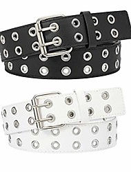"""cheap -punk grommet leather belt with silver double prong buckle for women for jeans (d-black+white, fit pants size below 35"""")"""