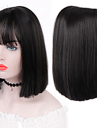 cheap -Blunt Cut Bob Short Straight Wigs with Air Bangs for Girls Synthetic Wigs Black Bob Wig Heat Resistant Cosplay Daily Use Hair