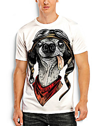 cheap -Men's Tees T shirt 3D Print Dog Graphic Prints Animal Print Short Sleeve Daily Tops Basic Casual White