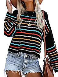 cheap -kayamiya sweaters for women trendy rainbow striped bell sleeve loose knitted pullover tops black large
