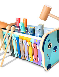cheap -Wooden Hammering Pounding Toy Educational Pegs Pound Maze Puzzle Number Sorter Musical Toy with Xylophone Hammers Mallets Gift for 1-4 Year Old Boys and Girls
