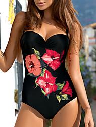 cheap -Women's One Piece Bikini Swimsuit Floral Color Block Blue Red Swimwear Strap Bathing Suits