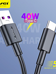 cheap -AWEI CL-77T 5A 40W Max Type C Fast Charging 1m 3ft Cable Charger USB to Type C 40W 100cm Phone Data Line TypeC Cable for Samsung S21 S20 Huawei Xiaomi Oneplus and more
