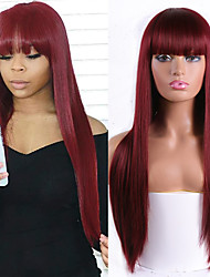 cheap -Synthetic Wig Natural Straight Neat Bang Wig Medium Length A15 A16 A17 A18 A19 Synthetic Hair Women's Cosplay Party Fashion Blonde
