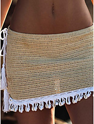cheap -Women's Beach Bottom Swimsuit Cut Out Hole Solid Color Color Block Black Khaki Swimwear Bathing Suits New Fashion Sexy