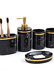 cheap -Bathroom Accessory set Toothbrush holder Soap Dish Mable Sanitary Ware Five Piece Hotel Wash Set Resin Bathroom Set Bathroom Supplies Kit
