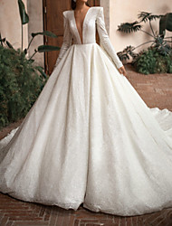 cheap -A-Line Wedding Dresses Plunging Neck Chapel Train Lace Sequined Long Sleeve Country Formal Luxurious with 2021