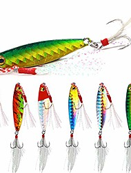 cheap -spoon fishing lures fishing spoons with feather treble hooks for trout bass walleyes spinner baits 10g 15g 20g (pack of 6) (10g/0.35oz -6pcs)